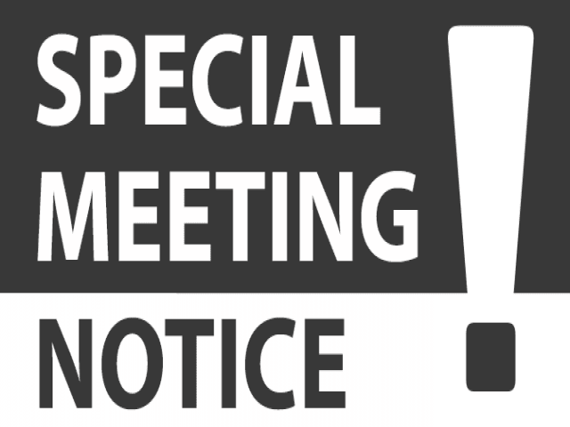 """Special Meeting Notice"" exclamation point"