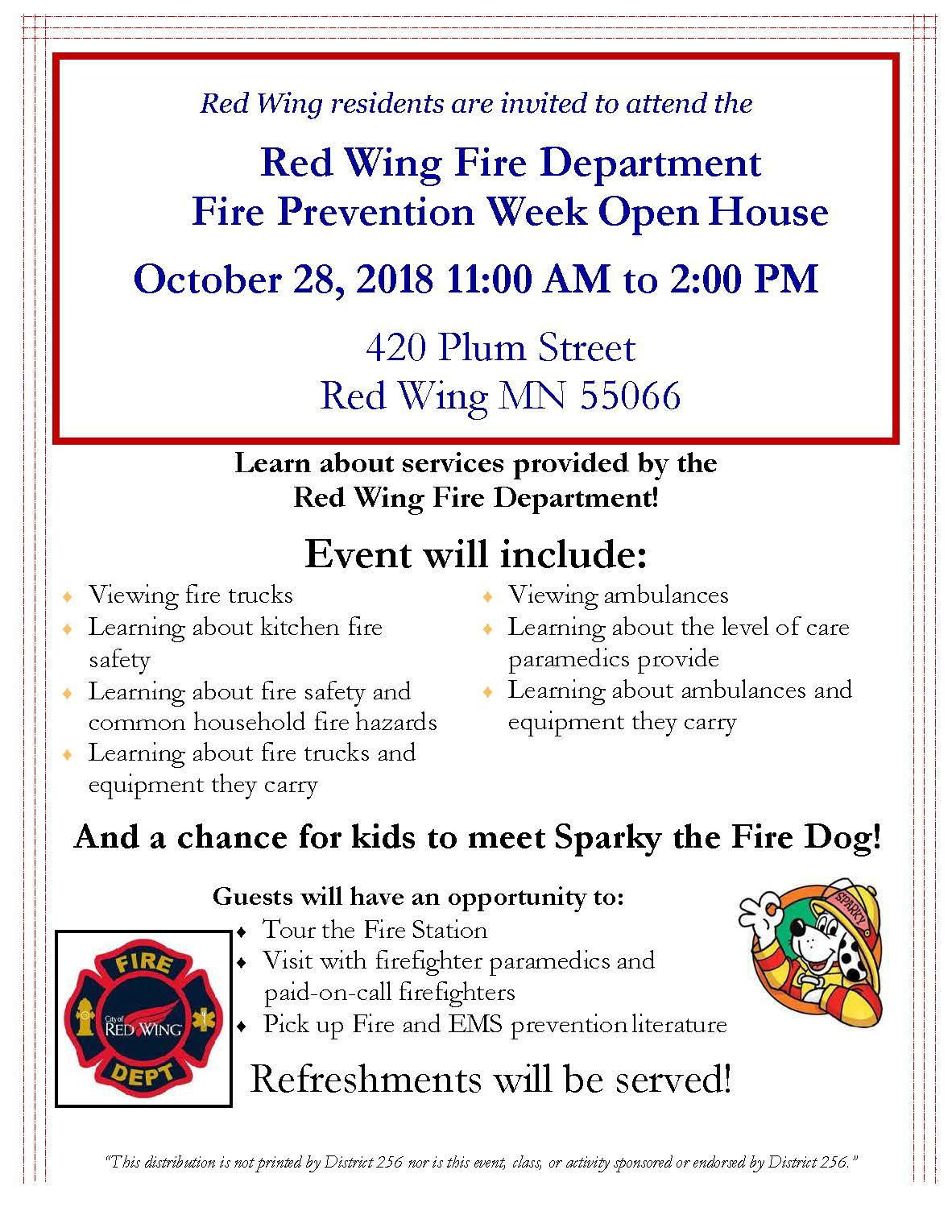 Invitation to attend the FD Open House on Oct. 28, 2018