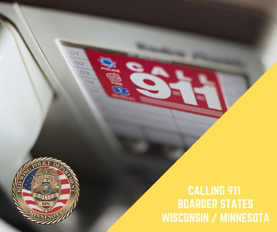 "Image of sticker stating ""Call 911,"" with additional words ""Calling 911, Border States, Wis"