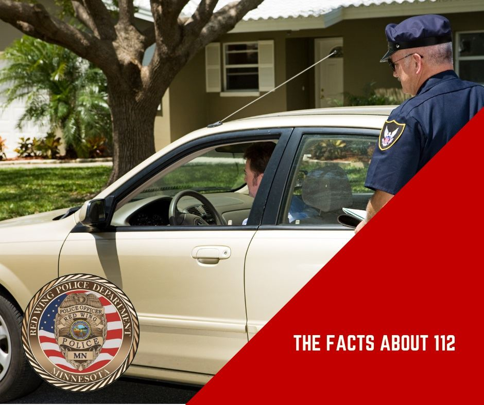 "Image of a police officer approaching a light-colored sedan, with words, ""The Facts about 112"""