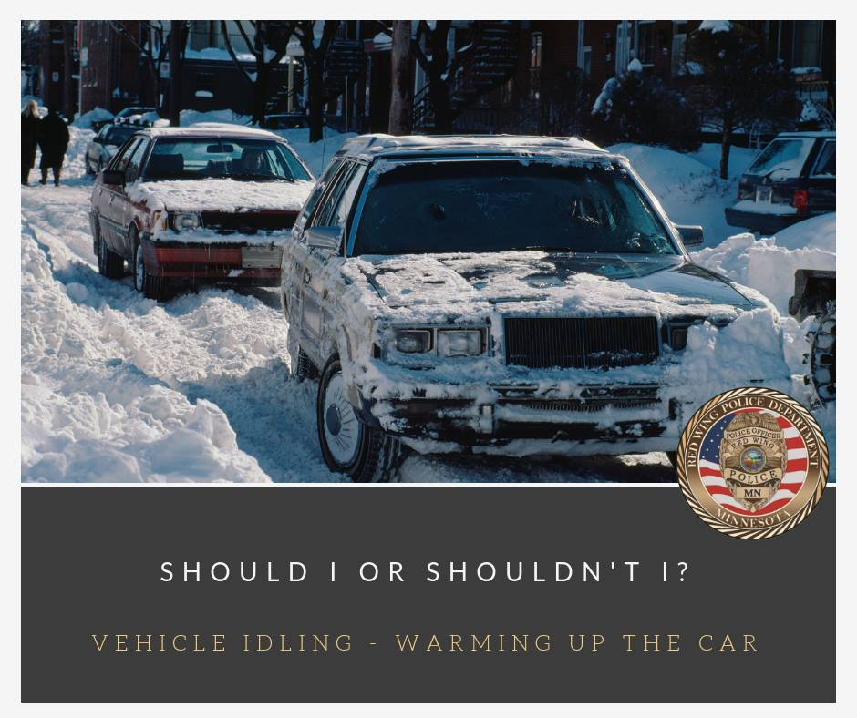 "Image of vehicles in a snowy street with the words ""Should I or Shouldn't I? Vehicle Idling; W"