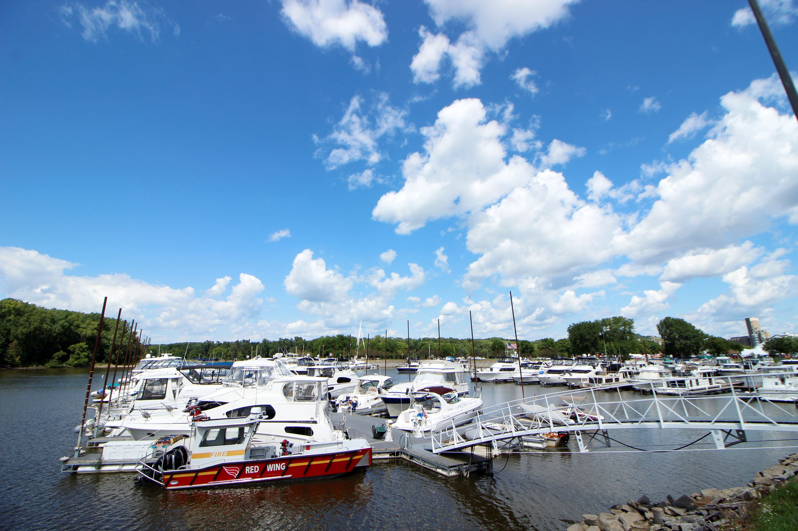 Image of boats docked at a marina in the summertime