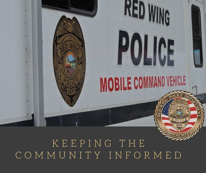 "Image of the side of the RWPD Mobile Command Vehicle with the words ""Keeping the Community Inform"