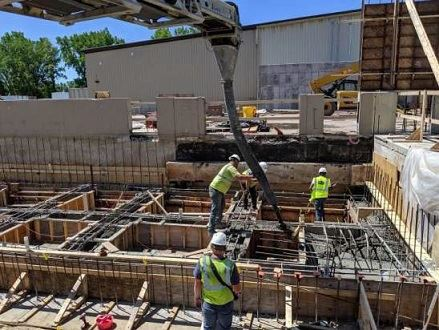 Image of the conveyor concrete pour for grade beams, taken 06/13/19 during the Solid Waste Campus re