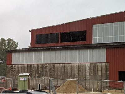 Image of Louver installation at Tip Floor during reconstruction on the Waste Campus