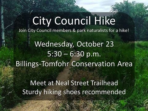 Image of hiking trail with Oct. 23, 2019 City Council Hike event information.