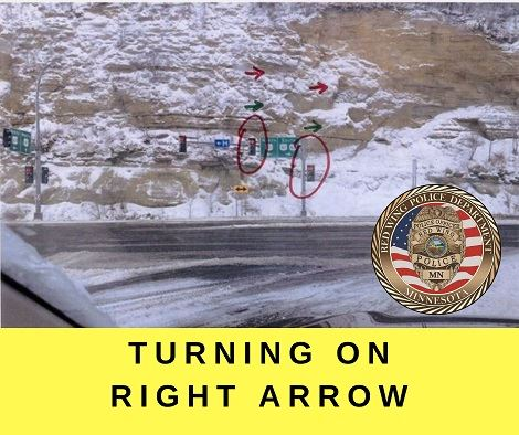 "Image of the stop light intersection near the Eisenhower Bridge on Hwy 61 with the words ""Turning"