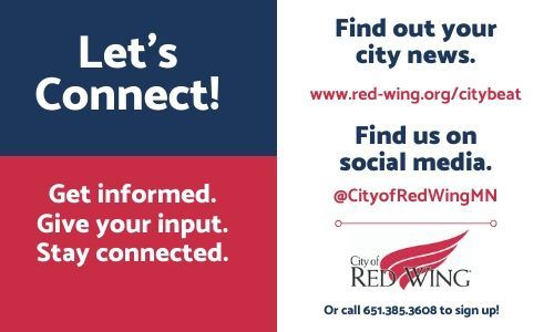 "Split image--on the left, blue and red background with the words ""Let's Connect; Stay informed"