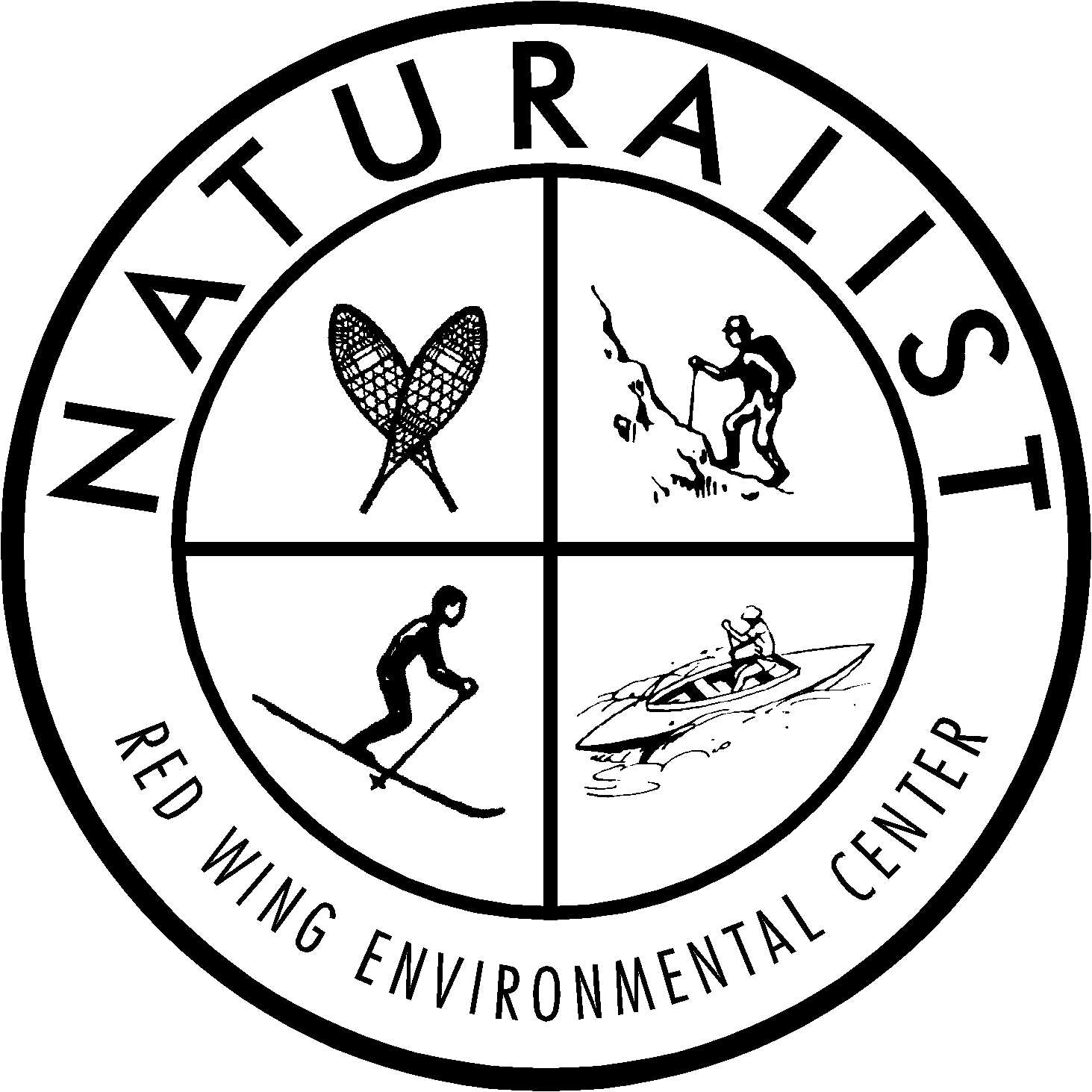 Black and white logo of the Red Wing Environmental Learning Center
