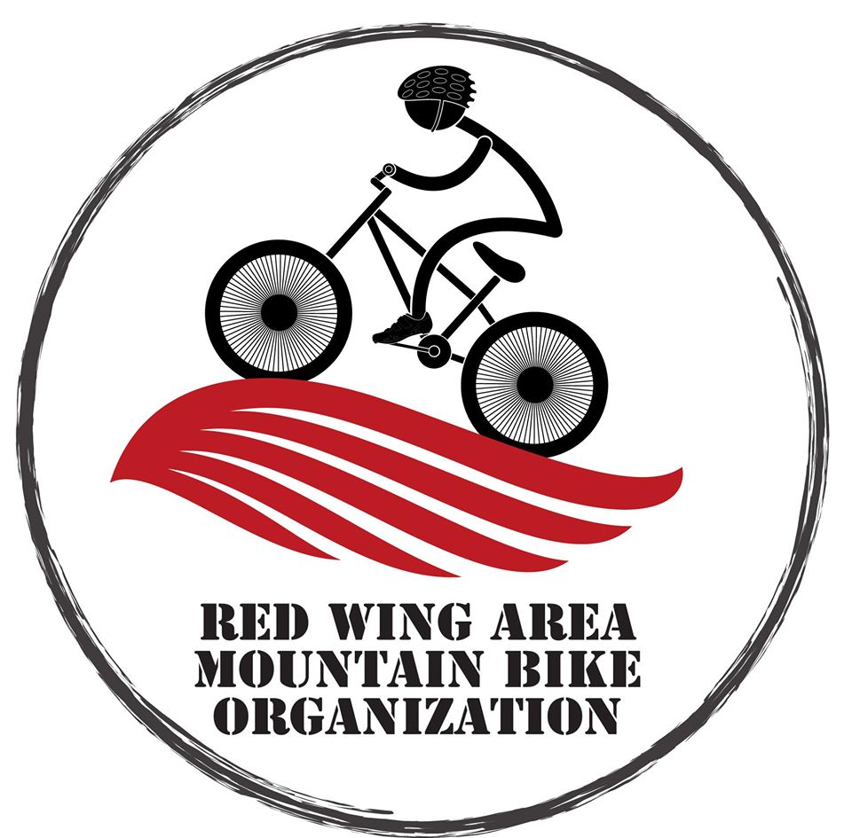 The Red Wing RAMBO logo, with a biking stick figure on a red wing