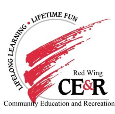 Red Wing Community Education & Recreation logo with a stylized red wing
