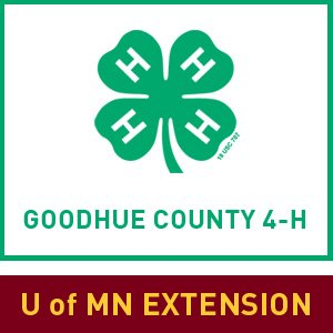 4-H logo featuring a green four-leaved clover above the words Goodhue County 4-H and U of MN Extensi