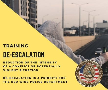 "Image of someone in hoodie and words ""Training De-Escalation"" and the RWPD seal"