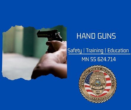 "Hands holding a gun against blue background, white letters ""Hand Guns"" and RWPD seal"