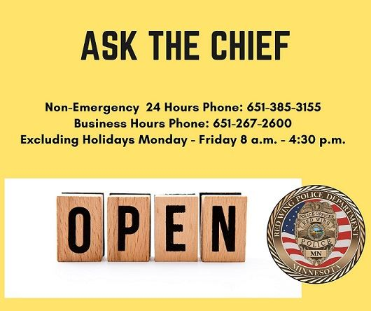 "Yellow background with black letters ""Ask the Chief"" and LEC hours and phone number with RWPD"