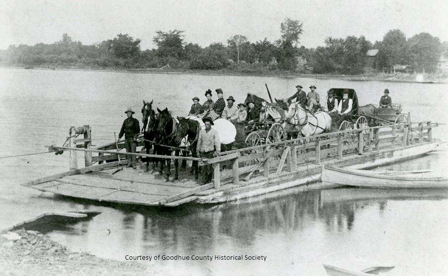 A Ferry That Operated Across the Mississippi River at Red Wing Before 1895 When the First High Bridg