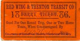 Red Wing and Trenton Transit Co. Ferry Ticket 1886