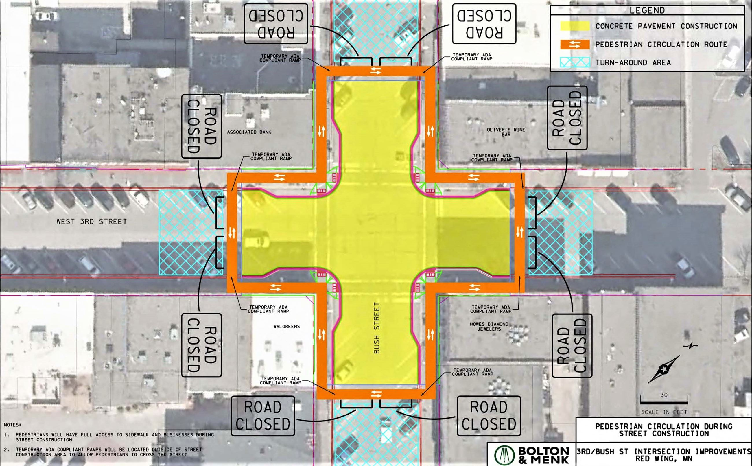 Pedestrian circulation during street construction map