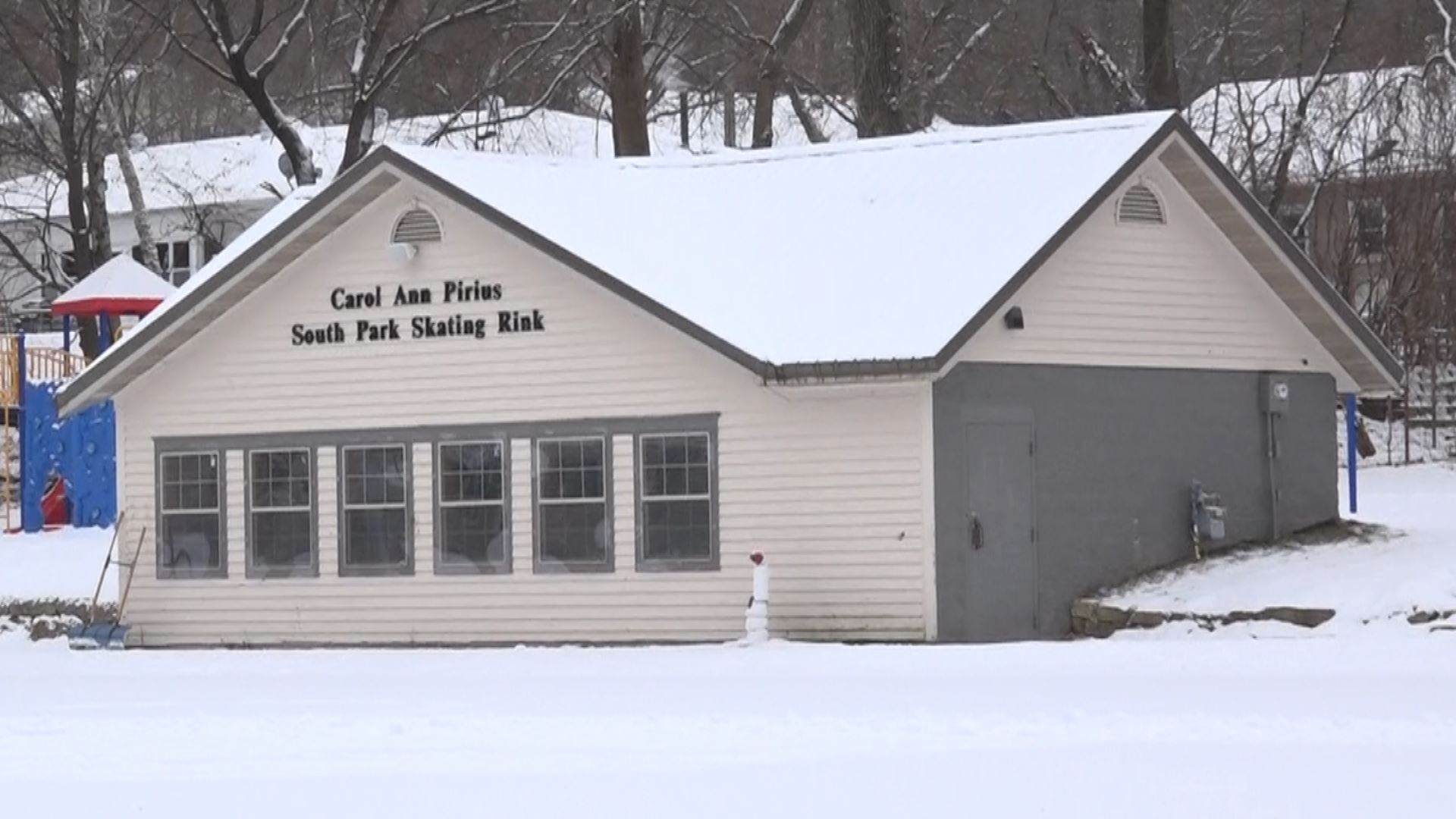 Image of the Carol Ann Pirius South Park warming house in winter
