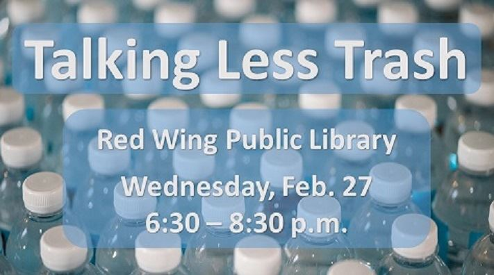 Information about Talking Less Trash event at the Public Library against a background of water bottl