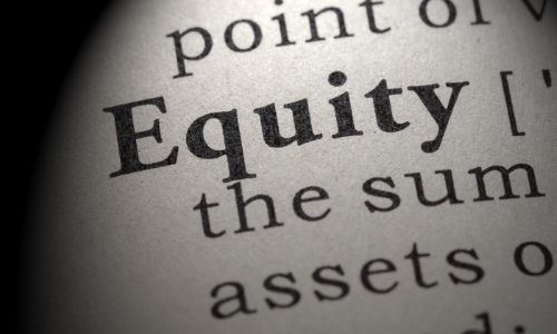 Close-up image of dictionary word Equity