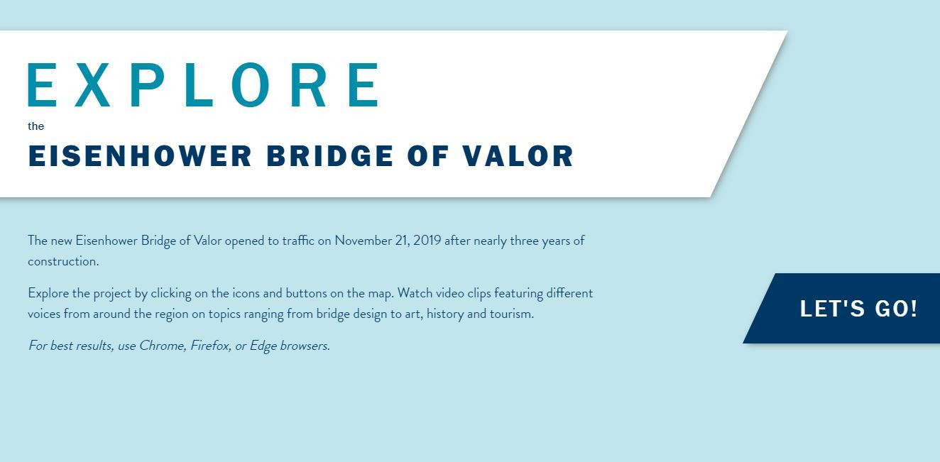 Landing page of the Eisenhower Bridge of Valor interactive map webpage