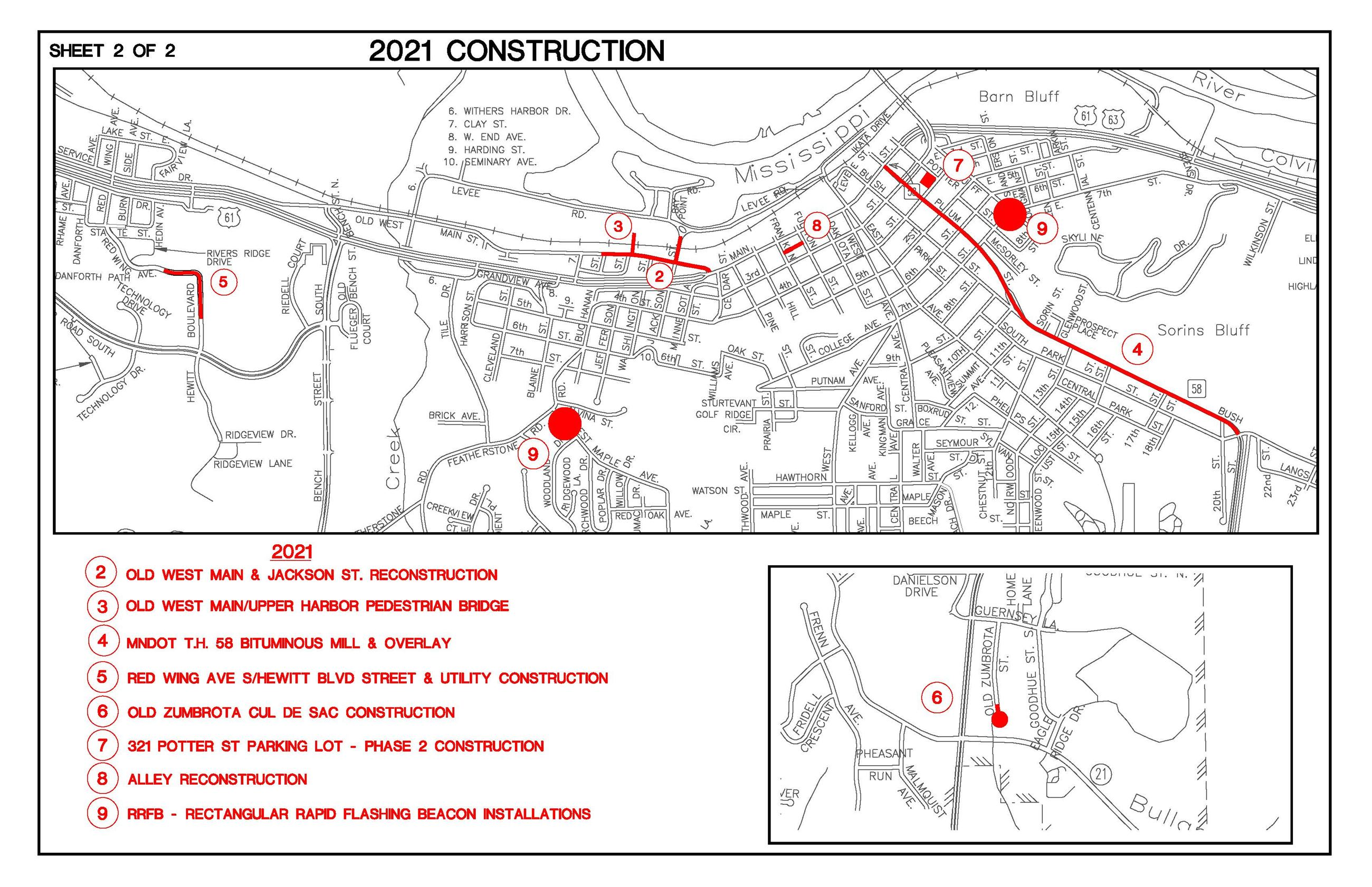 Overview map of upcoming 2021 construction projects in Red Wing.