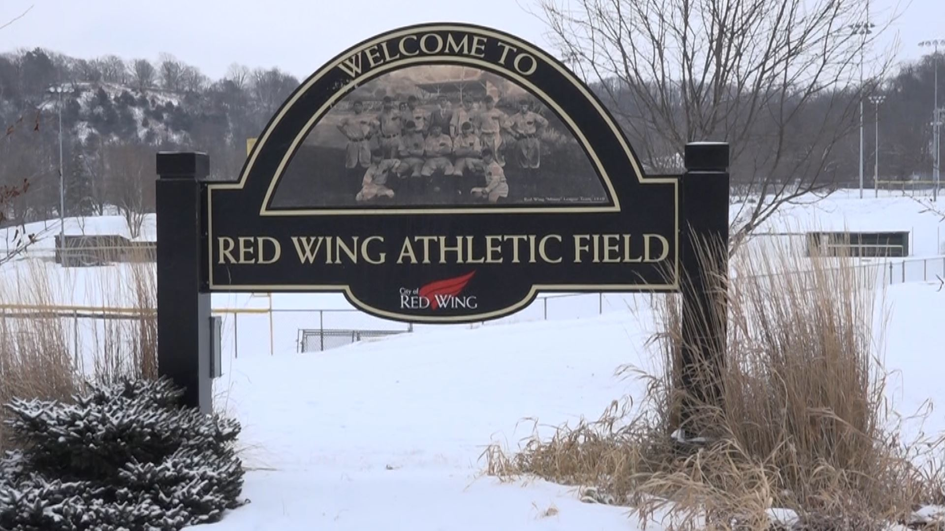 Image of the Red Wing Athletic Field sign in winter.
