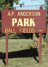 A.P. Anderson Park and Ball Fields Sign